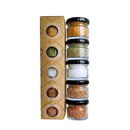 GLOSA MARINA - Sal Marina 5er Gourmet Salze Set No.3 - Meersalz aus Mallorca als ideales Gewürze Geschenkset Salzset (5x25g)