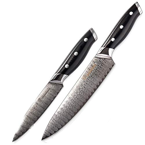 Cuchillo del cocinero 2 unids conjunto de cuchillos VG10 japonés Damasco Cuchillos de cocina CHEF UTILIDAD COCUCCIÓN CLEAVER STICING CORTING PORTING G10 Manija Regalo
