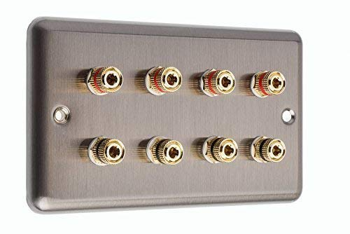4.0 2 Gang Surround Sound Speaker Wall Plate Raised Stainless Steel with Gold Binding Posts NON SOLDER REQUIRED