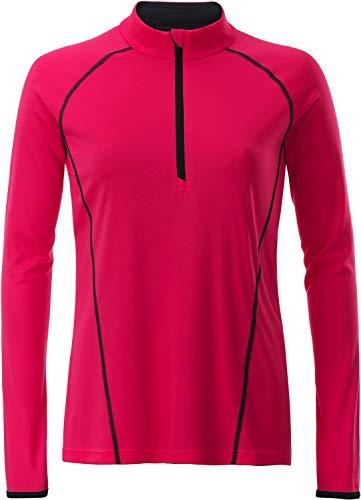 James & Nicholson Damen Ladies' Sportsshirt Longsleeve T-Shirt, Rosa (Bright-Pink/Titan), Medium