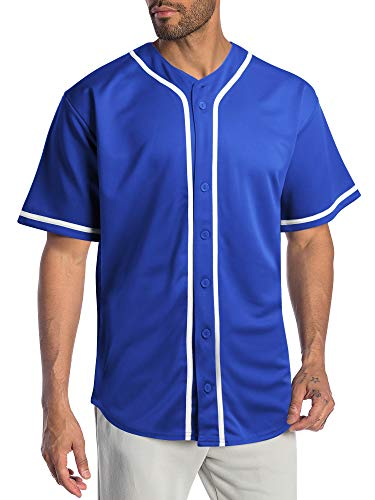 Hat and Beyond Mens Baseball Jersey Stripe Button Down Shirts Team Sports Uniforms (Medium,1DL01_Royal Blue)
