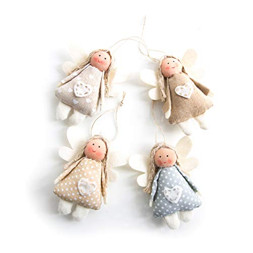 4 Stück Schutzengel Engel Feen Shabby Chic rosa creme hellblau natur 10 cm Stoff-Engel Weihnachtsanhänger Baumwolle Geschenkanhänger Glücksbringer give-away zum Aufhängen