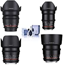 Rokinon Cine DS Lens Kit for Micro Four Thirds Consists of 16mm T2.2 Lens, 35mm T1.5 Lens, 50mm T1.5 Lens, 85mm T1.5 Lens, Cleaning Kit