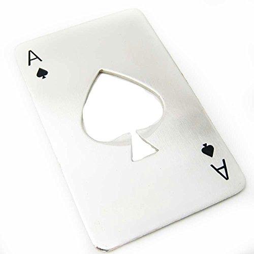 Apribottiglie in acciaio inox a forma di carta di credito con simbolo del poker, per portafogli, colore argento, Acciaio inossidabile, A, 1 pezzo