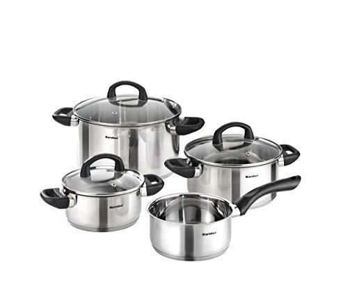 Karcher Topfset Mia aus Edelstahl, Kochgeschirr Induktion-Kochtopf-Set, Töpfe mit Glasdeckel und Stielkasserolle, 4-teilig