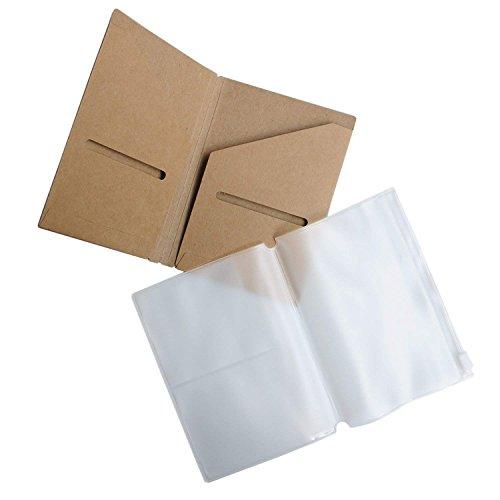 Estuche con cremallera y tarjetero Kraft, paquete de 2 accesorios para diarios de viaje recargables - Tamaño bolsillo/pasaporte | 5 x 3,5 pulgadas (12,5 x 9 cm) B7
