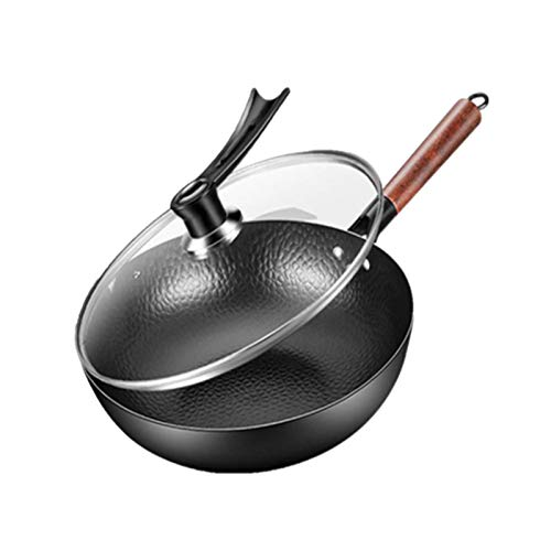 Wok Wok Household Uncoated Flat-Bottomed Forged Non-Stick Wok General Pure Iron Pan Glass Cover