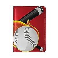 火の野球旅行男性女性のためのパスポートホルダー本革カバーケース