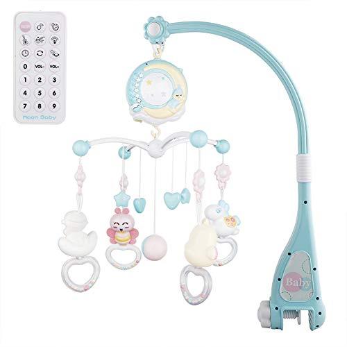 Moonvvin Baby Mobile para cunas con música, cuna móvil con luz nocturna y proyector, control remoto y juguete para empacar y jugar (Azul)
