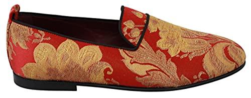 Dolce & Gabbana Zapatillas Brocade Oro Rojo Mocasines Zapatos, rojo (Rojo), 43 EU