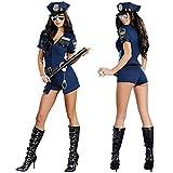 KHDFYER Ropa Erótica para Mujer 6 Unids/Set Disfraz De Policía Sexy para Mujer Adulto Halloween Cosplay Oficial De Policía Uniforme Sexy Cuello En V Profundo Mujer Policía Azul Disfraz-Azul_M