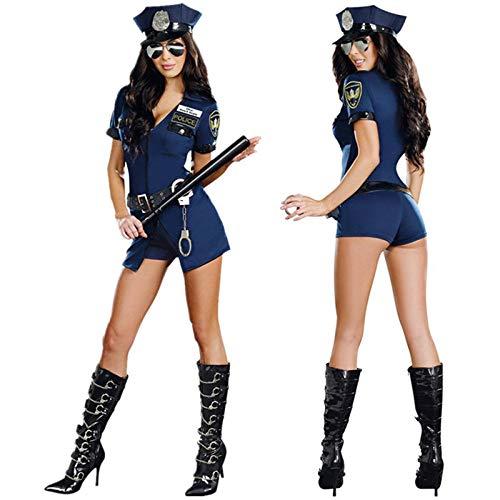 KHDFYER Lingerie Donna 6 Pz/Set Sexy Costume da Polizia Femminile Adulto Halloween Cosplay Poliziotto Uniforme Sexy Scollo A V Blu Poliziotta Fancy Dress-Blue_M