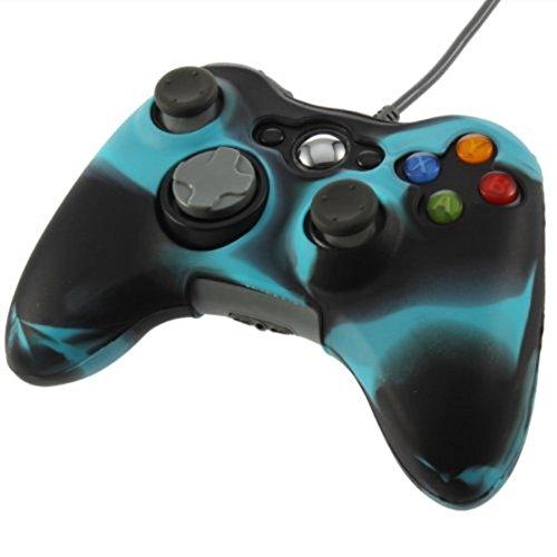Preisvergleich Produktbild TOOGOO(R) Anti Glare Silikonhuelle fuer Xbox 360 Controller (schwarz + blau)
