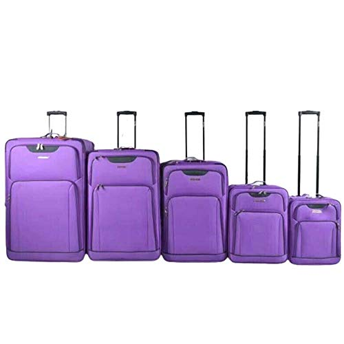 Super Lightweight Durable Hold Travel Luggage Trolley Suitcase (Purple, 29)