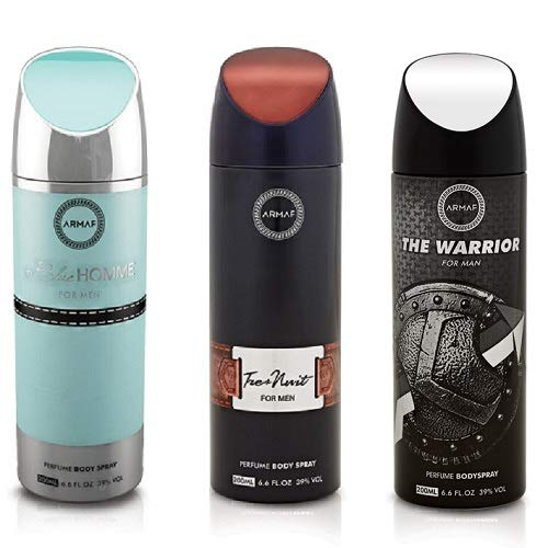 Pack of 3 Assorted Armaf Perfume Body Spray Alcohol Free 6.6 oz Tres Nuit/Blue Homme/Warrior For Men