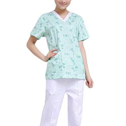 LUOEM Bata de Laboratorio Enfermera Médico Ropa de Trabajo Estampado de Flores Tops Uniformes de Trabajo Matorrales para Farmacia Esteticista Enfermera - Talla S