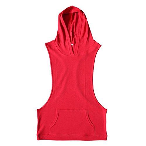 Generic Uomini Sexy Canotta Gilet Top T-shirt Con Cappuccio Sportivo Abbigliamento - Rosso, S