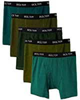 Bolter Men's Cotton Spandex All Day Boxer Briefs 5-Pack (XX-Large, Greens)