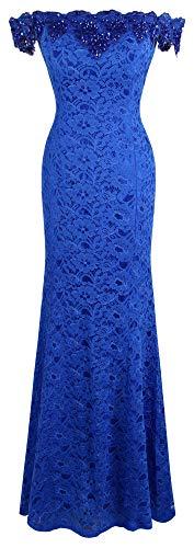 Angel-fashions Women's Off Shoulder Floral Lace Sheath Wedding Dress (L, Off Shoulder Navy)