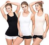 UnsichtBra 3er Pack Longshirt Damen Unterhemden | Basic Wohlfühl Mikrofaser Damen Top ohne Bügel |...