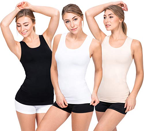 UnsichtBra 3er Pack Longshirt Damen Unterhemden | Basic Wohlfühl Mikrofaser Damen Top ohne Bügel | Unterhemd Damen Weiss Schwarz Beige (Schwarz,Weiss,Beige, S-M)