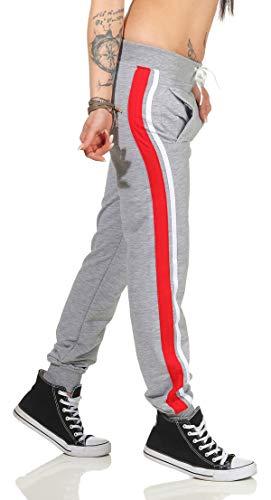 eloModa dames joggingbroek sport met zakken strepen BW maat S, M, L, XL, XXL.