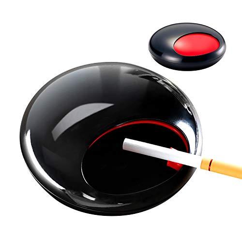 灰皿 テーブル用灰皿 タバコ ふた付き 卓上灰皿 大容量 メラミン製 ユニーク設計 室内 室外 楕円形 はいざら ビッグサイズ 2色 (ブラック)
