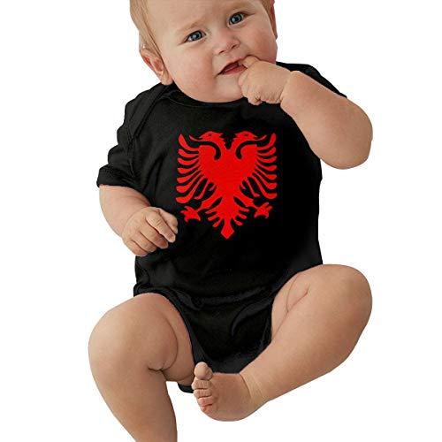 JIA9NS85 Albanian Flag Baby Short Sleeve Infant Boys Girls Creeper Jumpsuit Romper Bodysuit Black