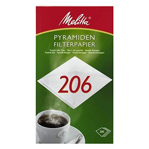 Melitta Pyramiden-Filterpapier 206 G, Weiß, 200 Stück