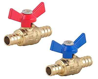 PEX Brass Ball Valve, 1/2-in PEX Lead Free Brass Shut off Ball Valve with Red & Blue T (Butterfly ) Handle , PEX Barb Water Valve with cUPC Certified for Cold and Hot water-LD Brand (2-Pack) by LD Valve