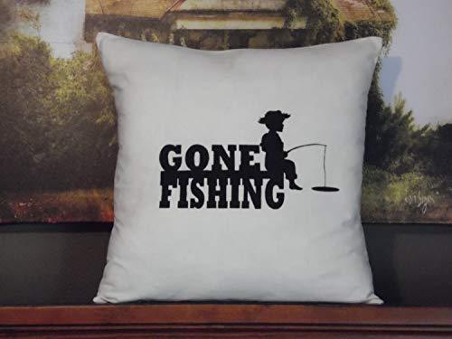 Funda de almohada de muselina personalizada, funda de almohada para niños pequeños ir de pesca, decoración de granja negra, funda de cojín de lona cuadrada para cama, coche, sofá, vacaciones
