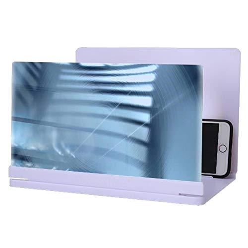 KHUY Handy Vergrößerungs Bildschirm, 3D Bildschirm Lupe Smartphone HD Projektor Handy Screen Vergrößerer für Filme Oder Gaming 11/12 und Allen Smartphones Geeignet (Color : White, Size : 20 inches)
