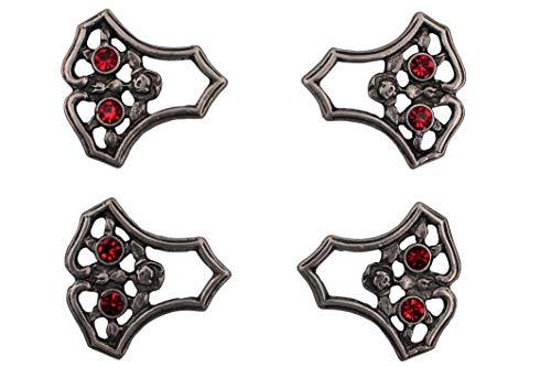 Hartmann-Knöpfe 4 Stück Silber antik Mieder Ösen Miederhaken mit rot Strass Stein Glitzer Dirndl Metall 23mmx23mm Rose Motiv