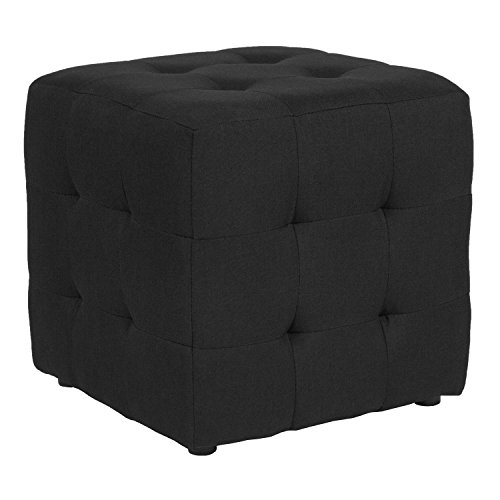 Flash Furniture Avendale Tufted Upholstered Ottoman Pouf in Black Fabric