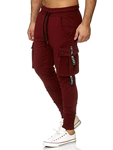 Tazzio Jogginghose Slim Fit Herren Cargo Hose Cargohose Sporthose Fitness Freizeit Trainingshose Sweat Sweatpants Jogger | 19611 (Bordeux, L)