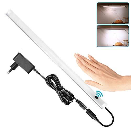 SOAIY 40cm Luz bajo mueble cocina con sensor movimiento de la mano, Iluminacion ajustable led cocina bajo mueble, luz cocina bajo armario con enchufe, Blanco Frío 4000K