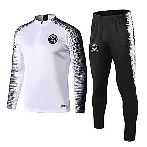YEFAN Trainingsanzug European Football Club Männer Fußball Sweatshirt Langarm Frühling und Herbst Breathable Sport Trainings-Uniform (Weiß, M)