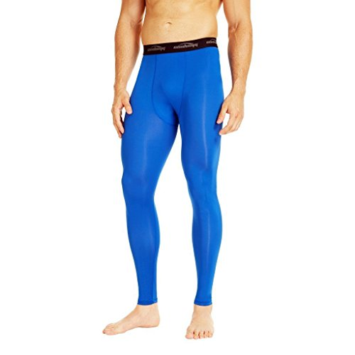 COOLOMG Herren Jugend Kompression Tights Laufhose Sporthose Lang Training Fußball Volleyball Blau XXL