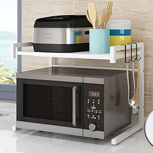 LYWY Almacenamiento de Cocina, México expandible Microondas Microondas Estante, Rack de Ahorro de Espacio para Dormitorio, Sala de Estar, Baño, Cocina, Oficina,Blanco