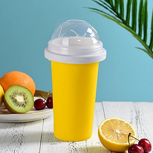 AOOF DIY ice cup, magic quick-frozen smoothie cup, reusable smoothie cup, homemade milkshake ice cream machine, summer cooling squeeze cup for family and children yellow