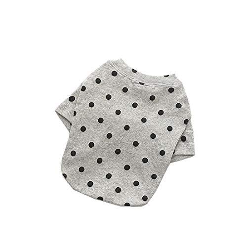 WTNL Patrón Mascotas Ropa for los pequeños Perros de Perrito Resorte y el Verano suéter del Perro del algodón del Punto del Mono Perro de Perrito (Color : Gray, Size : L)