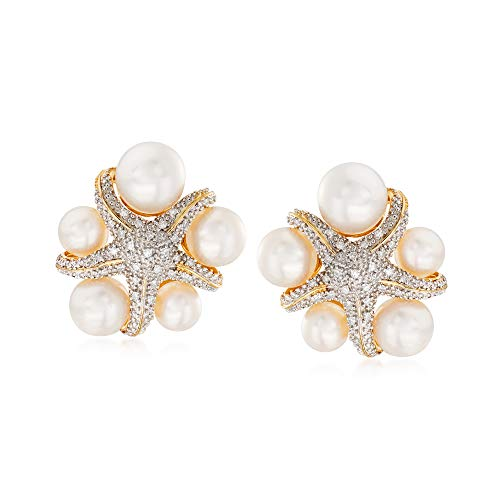 Ross-Simons 5-7.5mm Cultured Pearl and .15 ct. t.w. Diamond Starfish Earrings in 18kt Gold Over Sterling