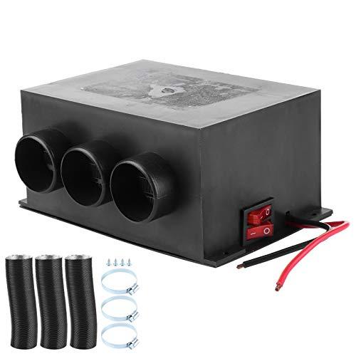 Duokon Calentador de coche 12V 600W, calentador de calefacción de invierno portátil de 3 orificios, desempañador de parabrisas de aleación de aluminio, eliminación de niebla