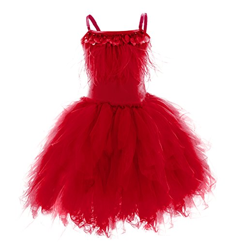 Price comparison product image Little Girl Swan Princess Feather Fringes Tutu Dress Pageant Party Wedding Dance Baptism Birthday Short Tiered Gown Red 12-18 Months