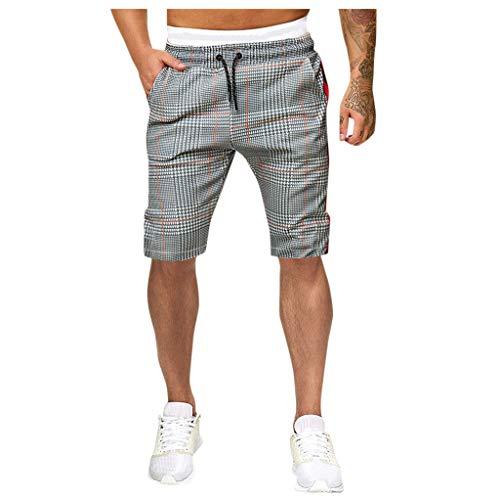 CLOOM Ropa Deporte Hombre Fitness del Verano Al Aire Libre Pantalones Hombre Chandal Casual Cargo Shorts De Raya Streetwear Adolescentes Running Pants(Gris.L)