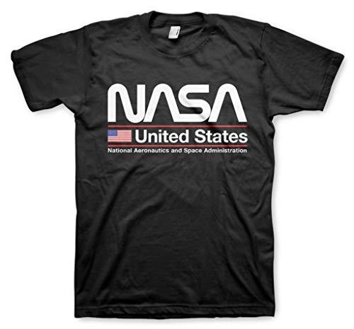 Nasa United States T-Shirt da Uomo Ufficiale con Licenza (S, Nero)