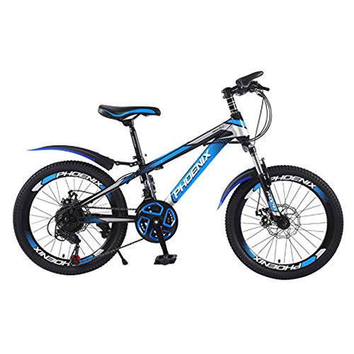 Axdwfd Kids Bike 18' & 20' Kids Outdoor Bicycle 7-Speed Adjustable,for 9-14Years Old Boys and Girls Adjustable Children Mountain Bike,Blue, Green, Red (Color : Blue, Size : 18in)