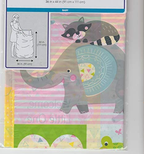 Baby Shower Giant Gift Bag 36 x44 Matching tag Ribbon Cute Playful Animal Theme for boy or Girl product image