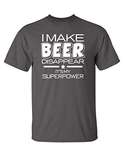 Beer Disappear Cool Graphic Novelty Funny T Shirt L Charcoal
