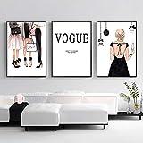 Póster de lienzo de moda para niña, cuadro de Vogue, arte de pared de París, pintura en lienzo, póst...